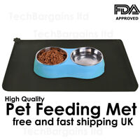 Pet Puppy Silicone Waterproof Feeding Food Mat Dog Cat Non Slip Placemat {BLACK}