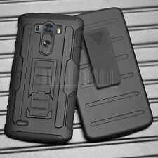 Black Hybrid Rugged Armor Impact Case Hard Stand Cover Clip Holster For LG G3