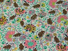 "3 3/4 Yards Vintage 36"" wide 100% COTTON FABRIC Jacobean Floral Pink Brown Quilt"