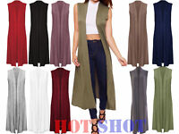 New Womens Long Midi Sleeveless Open Plain Jacket Cardigan Top Ladies Waistcoat