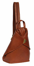 Womens Luxury Leather Backpack BROWN Rucksack Cycling SPORTS Gym Organiser Bag