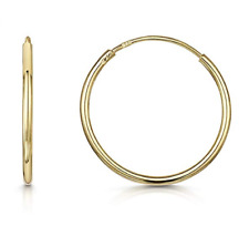 9ct Gold Plain 10mm - 20mm Hoop Sleeper Hoops / Sleepers / Earrings