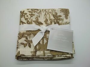 Pottery Barn Gold Alpine Toile Stag Deer Cocktail Napkins S/ 4 #2