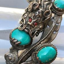 Massive Vintage Chinese Dragon Silver Plated Turquoise Hinged Bangle Bracelet