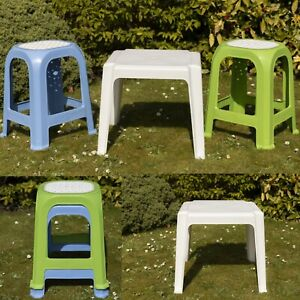 Large Tall Plastic Garden Stool Stackable Outdoor Indoor Chair Stool or Table