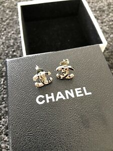 Chanel Mini CC Studs Black & Gold Detailing