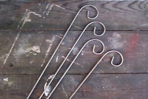 Set of Four Metal Garden Rusted Crooks. For use with Slate Plant Labels.