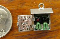 Vintages sterling silver SAM AND LEW OUTHOUSE MOVABLE ENAMEL 3D charm RARE