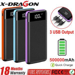 Portable Charger 500000 mAh External Power Bank 3 USB Type C Fast Charge Battery