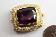 SUPERB QUALITY VINTAGE 18K GOLD AMETHYST & DIAMOND BRACELET / NECKLACE CLASP