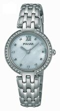 Pulsar Ladies Slim Dress Watch Chrome/Steel Swarovski Crystals PH8163 UK Seller