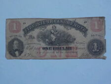 Civil War Confederate 1862 1 Dollar Bill Virginia Treasury Paper Money Currency