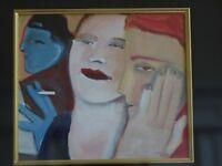 Original Painting by Sandra Campbell Jones, Blue man smoking, 2 women, Signed