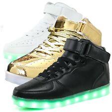 Hightop LED Light Up Shoes Sportwear USB Kids Men Women Adult Black White Gold