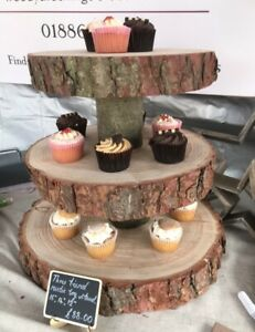 """Three Tiered Rustic Wooden Wedding cake/ Cup Cake stand, centre piece, 15"""" Base"""