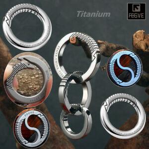Titanium Round Push Gate Snap Open Hook Spring Ring Carabiner Camping FEGVE