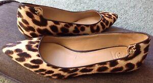 Tory Burch Gigi Leopard Calf Hair Pointy Toe Ballet Flats Women Size 5.5 M