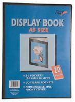 4 x A3 Premium Black Cover Display Book Presentation Folder Portfolio - 20 pkt
