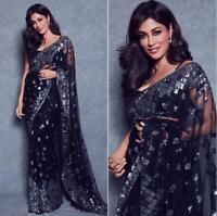 Indian Bollywood Wedding Net Saree Beautiful New Sequence Work Sari Blouse PV