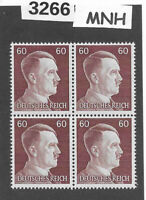 #3266  MNH stamp block of 4 / PF60 Sc522 / WWII Germany Third Reich Adolf Hitler