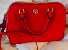 TORY BURCH ROBINSON SOFT PEBBLED DOUBLE ZIP SATCHEL RED W/DUST BAG