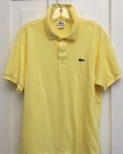 Men's LACOSTE Polo Shirt, Yellow 100% Cotton, Short Sleeved, Sz 6 US L Alligator