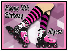 Roller Blades Edible Icing Image Personalised Birthday Party Cake Topper