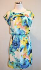 SUNNY LEIGH SLEEVELESS FLORAL MULTI WATERCOLOR FLORAL SUMMER SPRING DRESS SMALL