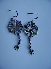 Sterling Silver Spider On Web Dangle Hook Earrings New