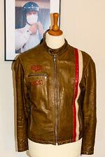 Tag Heuer Dakota Mens Steve McQueen Leather Jacket Genuine Item Brown - Medium