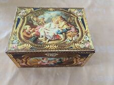 Lovely Old Decorative Tin With Hinged Lid.