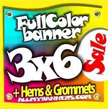 3x6 Printed Full Color Custom Banner * Sale Price * +grommets +hems AMBSP