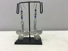 Coiled Green White Blue Sandcast Earrings Masai African Aluminum Twisted