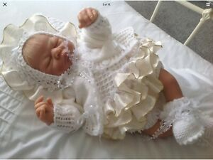 """🌸BEAUTIFUL HAND KNITTED OUTFIT SET 0-3 MONTHS BABY BABIES REBORN DOLL 18""""-20""""💜"""
