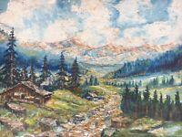 Alpenlandschaft mit Haus Spielmann Ölgemälde Bayern Österreich? 40 x 53 cm