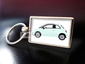 FIAT 500 (MINT) METAL KEY RING.