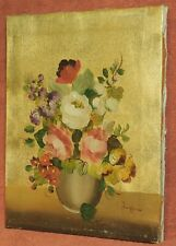 Vintage Italian Floral Still Life Painting MODERN Metallic Gold Ground SIGNED
