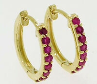 E027 Genuine 9K 9ct Yellow, White or Rose Gold NATURAL Ruby Huggie Hoop Earrings