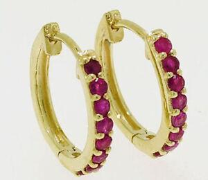 E027 Genuine 9K 9ct Yellow, White or Rose Gold NATURAL Ruby Huggie Hoop Earrings