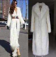 Luxury Womens Super Long Faux Fur Coat Trench Full Length Jacket Overcoat White