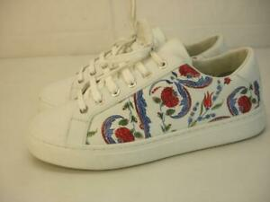 Women's 8 sz 38 Escada Sport White Floral Printed Leather Shoes Sneakers Lace-Up