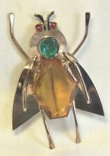 Plate and Rhinestone Bug Pin Katz Large Vintage Coro Sterling Silver Gold