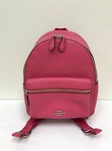 NWT Coach Pebble Leather Mini Charlie Backpack F38263 - Magenta