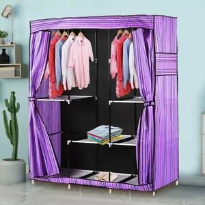 Triple Canvas Close Wardrobe Cupboard Folding Hanging Clothes Storage UK