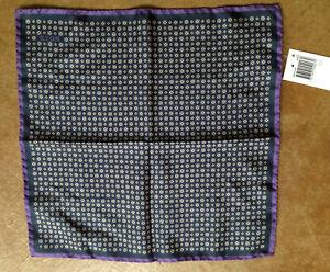 "New Eton Men's 12.5""x12.5"" 100% Silk Pocket Square, Purple"