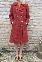 Vintage 1960s Retro Orange Woven Wool Mid Century Mod Pattern Coat 12 14