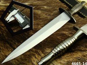 HANDMADE STAINLESS STEEL BRITISH COMMANDO HUNTING DAGGER KNIFE SHARP NEW(4665-14