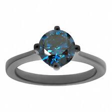 Unique Enhanced Blue Diamond Solitaire Engagement Ring 1.22 Carat 14k Black Gold