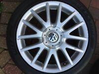 """VW GOLF MK5 MK6 17"""" GT TDI SPORT CLASSIX RONAL ALLOY WHEEL & TYRE 1K0601025AN 12"""