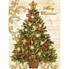LANG Deluxe Boxed Holiday Cards CHRISTMAS TREE Ornament Decoration Cardinal Star